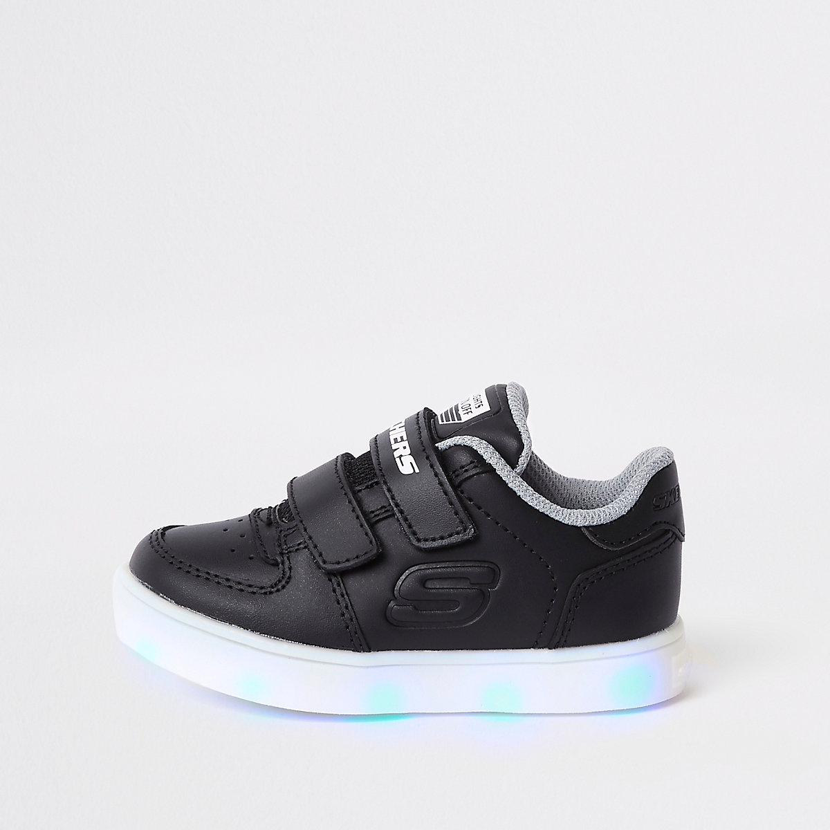 Mini boys Skechers black light-up sneakers
