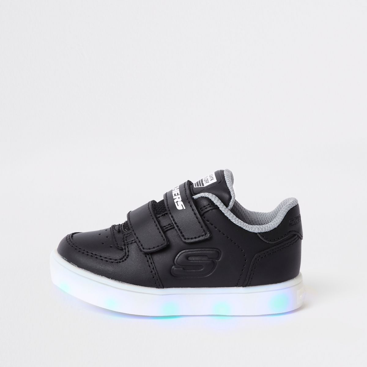Mini boys Skechers black light-up trainers