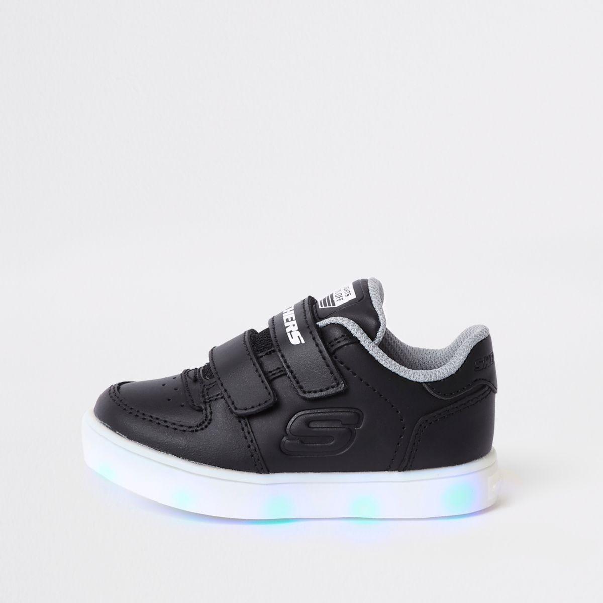 Baskets Skechers noires lumineuses mini garçon