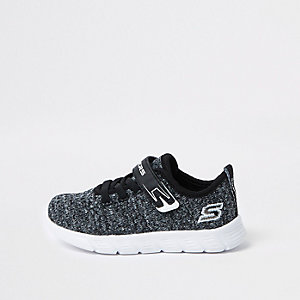 Mini boys Skechers black knit sneakers