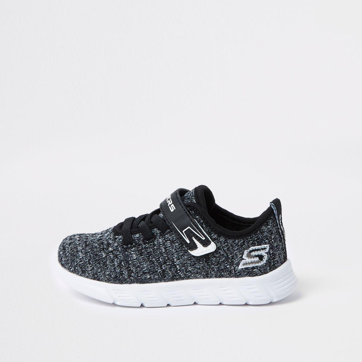 Mini boys Skechers black knit sneakers