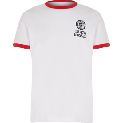 Boys Franklin & Marshall White Retro T Shirt by River Island