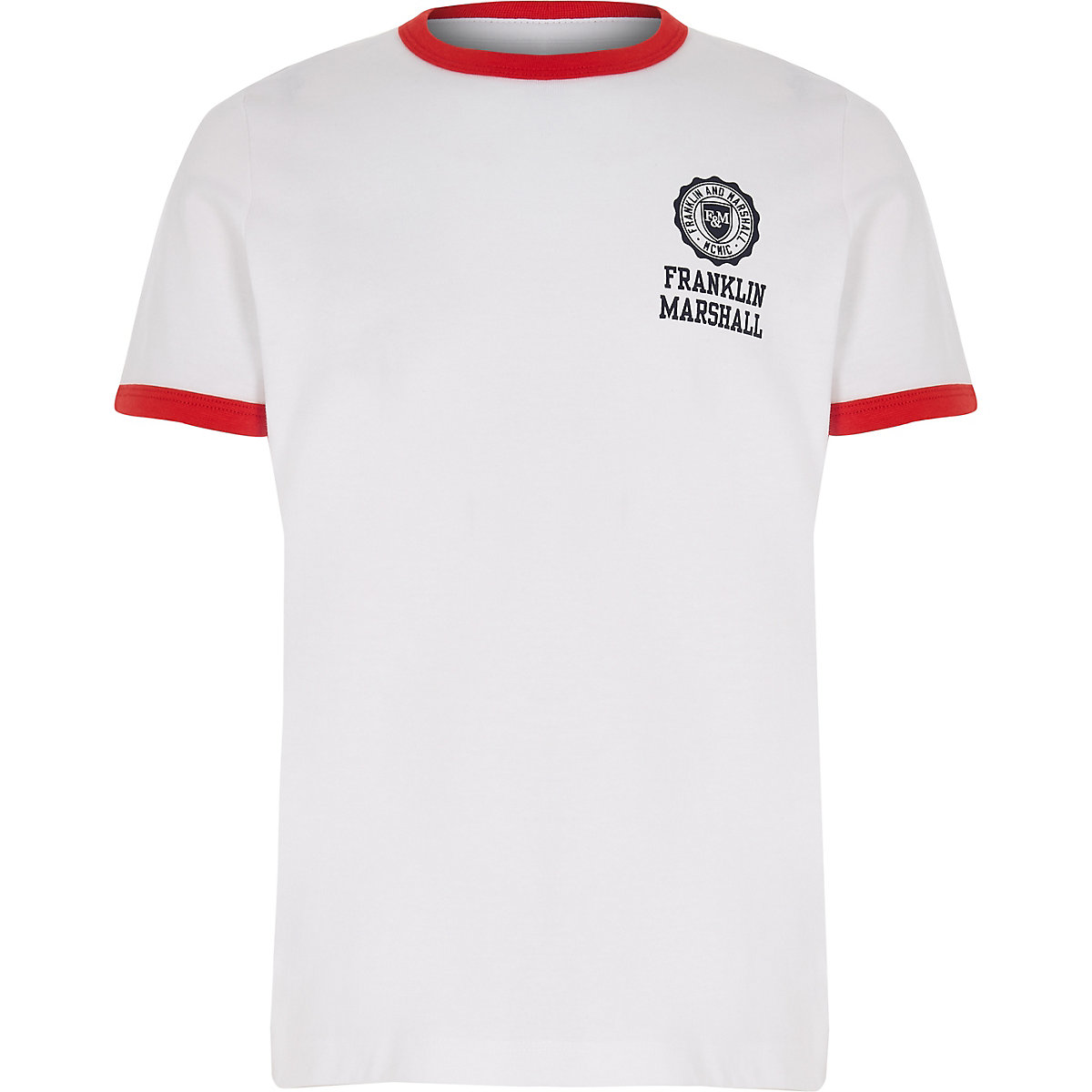 Boys Franklin & Marshall white retro T-shirt