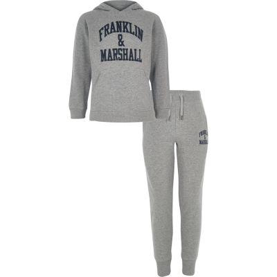 Franklin & Marshall   Outfit Met Grijze Hoodie Voor Jongens by River Island
