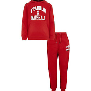 Boys Franklin & Marshall red tracksuit outfit