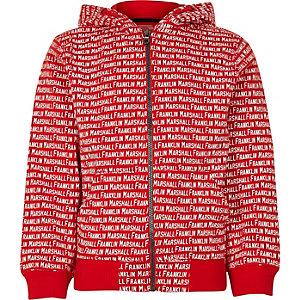 Franklin & Marshall – Roter Hoodie mit Monogramm