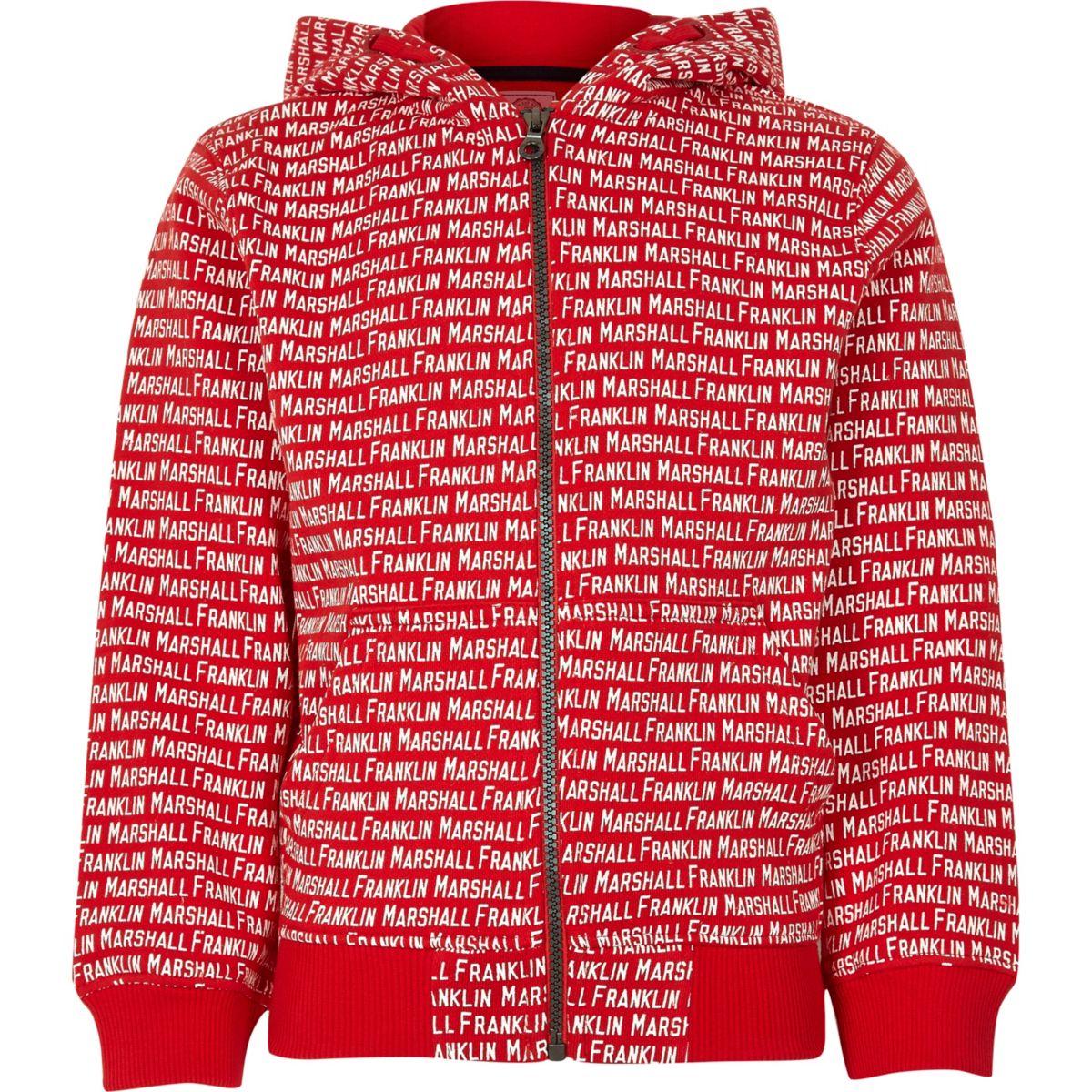 Boys Franklin & Marshall red monogram hoodie