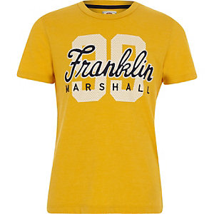 Boys Franklin & Marshall yellow '99' T-shirt