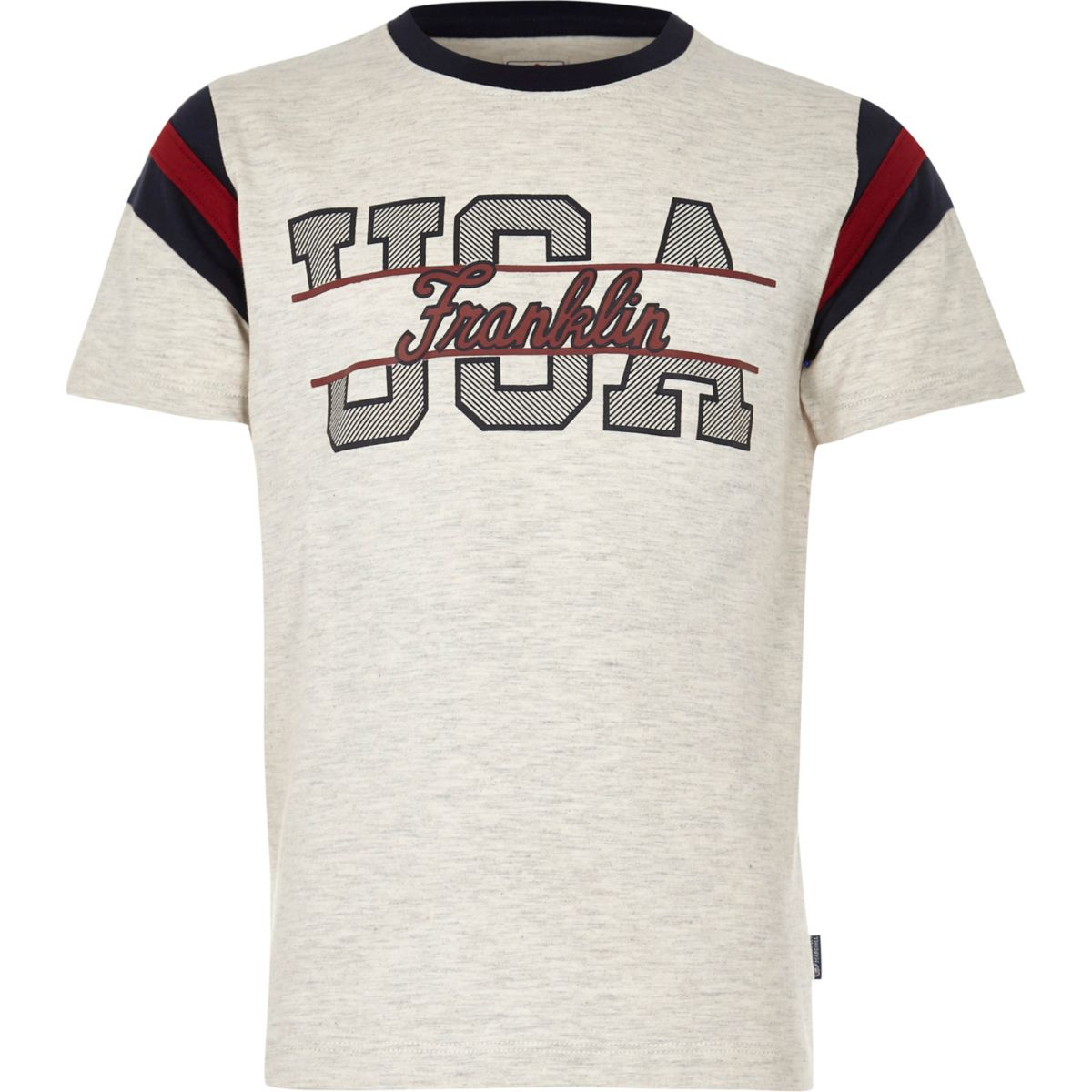 Boys Franklin & Marshall marl 'USA' T-shirt