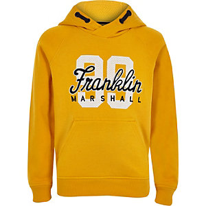 Boys Franklin & Marshall yellow '99' hoodie