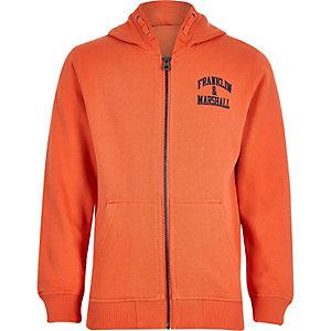 Franklin & Marshall - Oranje hoodie met rits voor jongens