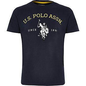 Marineblauw T-shirt met U.S. Polo Assn.-print voor jongens