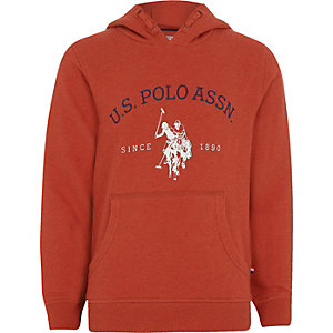Sweat à capuche «U.S. Polo Assn.» rouge pour garçon