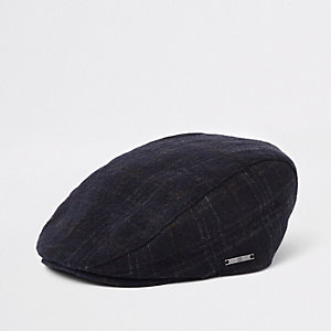 Boys navy check RI flat peak cap