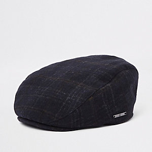 Mini boys navy check RI flat peak cap