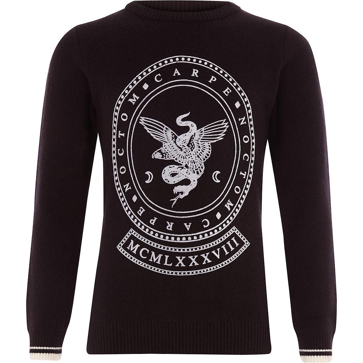 Schwarzer Pullover mit Flock-Print