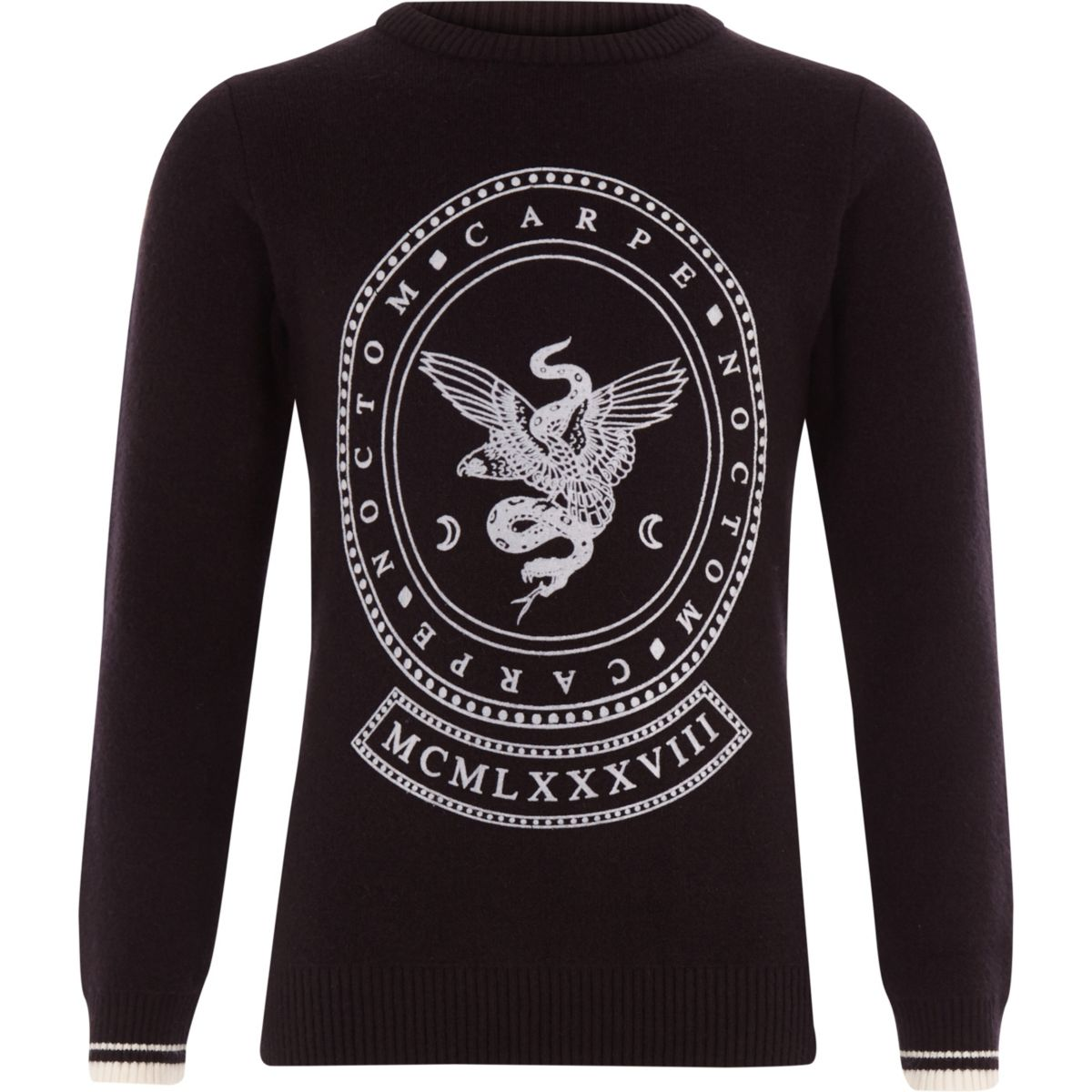 Boys black snake flocked jumper