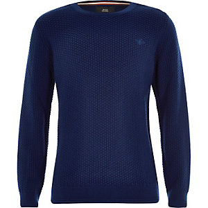 Boys blue knit wasp embroidered sweater