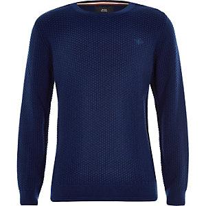 Blauwe gebreide pullover met geborduurde wesp voor jongens