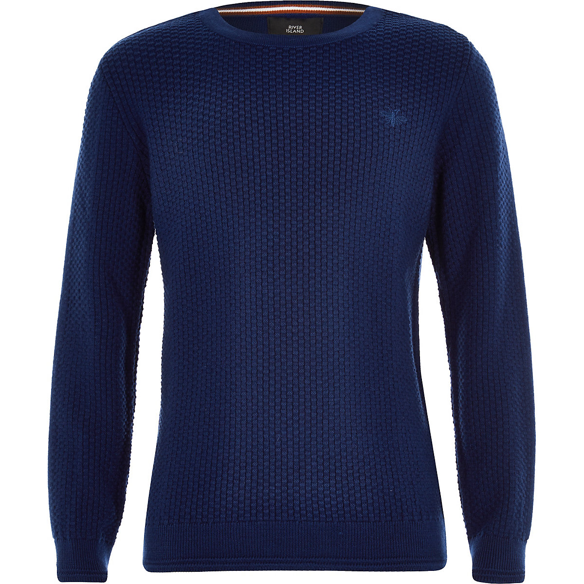 Boys blue knit wasp embroidered jumper