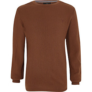 Boys brown textured jumper