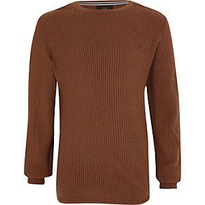 Bruine pullover met structuur voor jongens