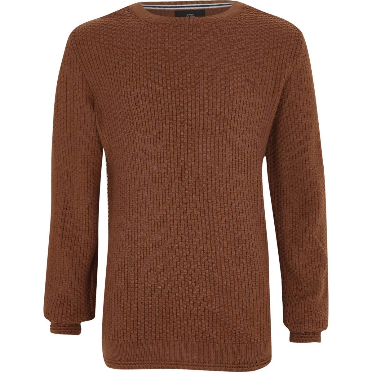 Boys brown textured sweater