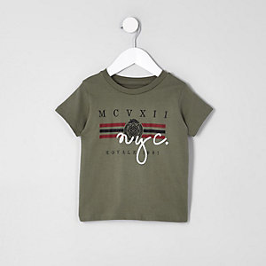 "T-Shirt in Khaki ""NYC"""