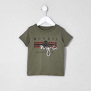 Mini - Kaki T-shirt met 'NYC'-print voor jongens