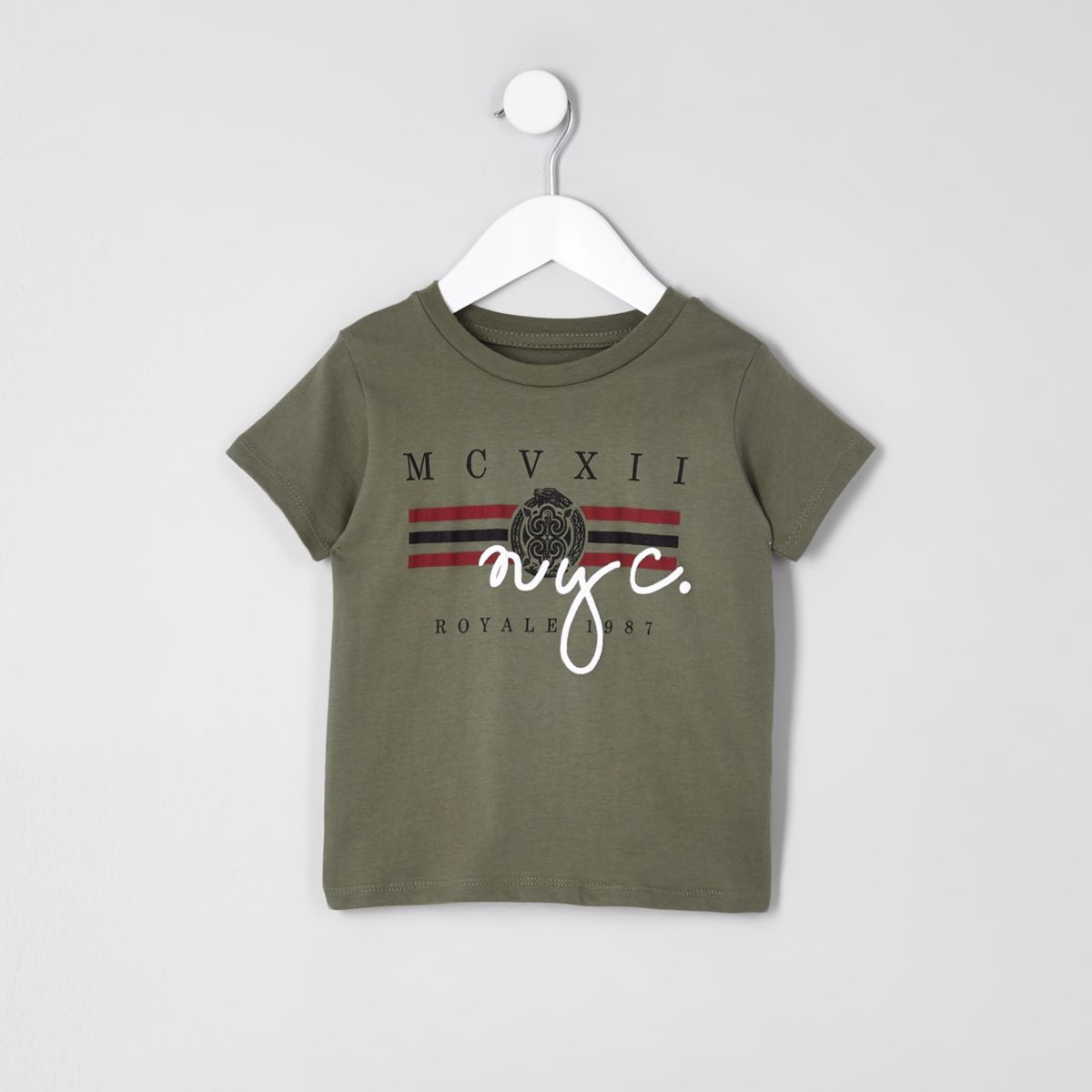 Mini boys khaki 'NYC' T-shirt