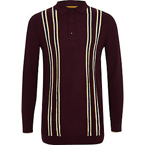 Boys purple stripe long sleeve polo shirt