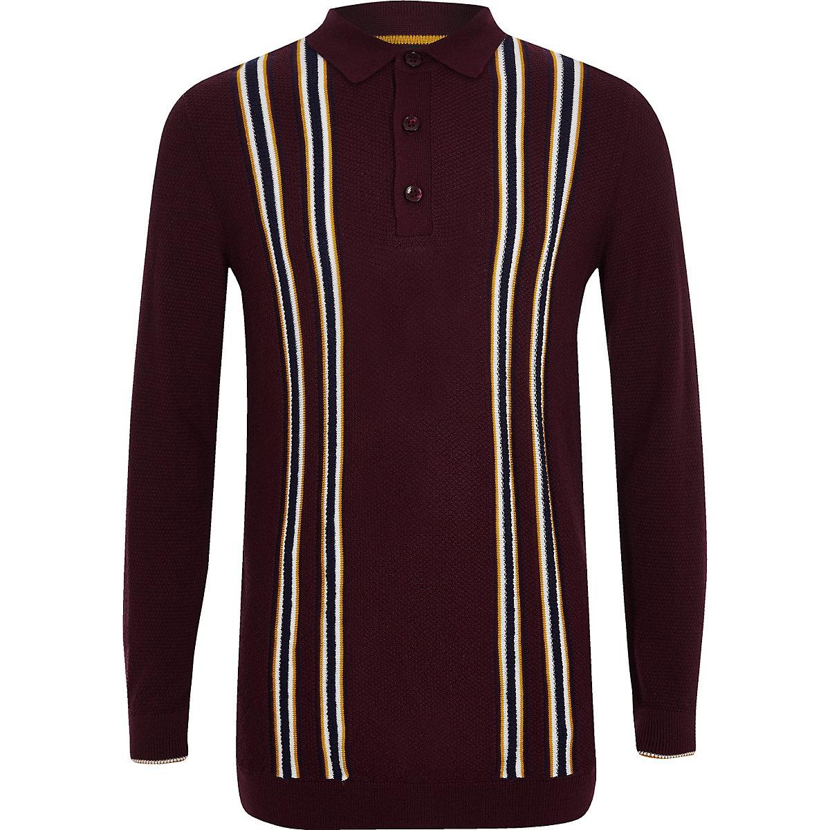 Boys purple stripe long sleeve polo shirt