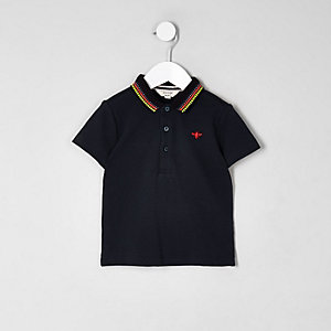 Mini boys navy tipped collar polo shirt