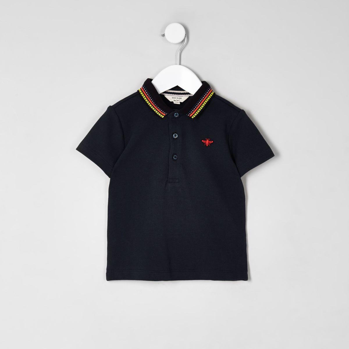 Mini - Marineblauw poloshirt met contrasterende streep op de kraag voor jongens