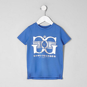 Mini boys blue 'game changer' print T-shirt