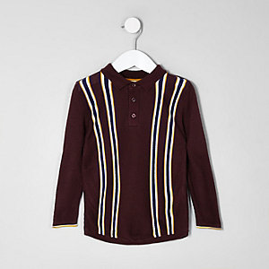 Mini boys purple stripe polo T-shirt