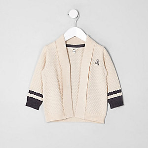 Mini boys ecru knit tipped cardigan