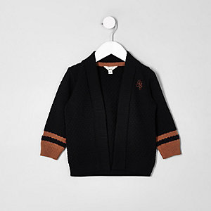 Mini boys navy knit tipped cardigan