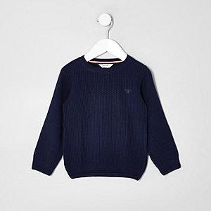Mini - Blauwe gebreide pullover met geborduurde wesp voor jongens