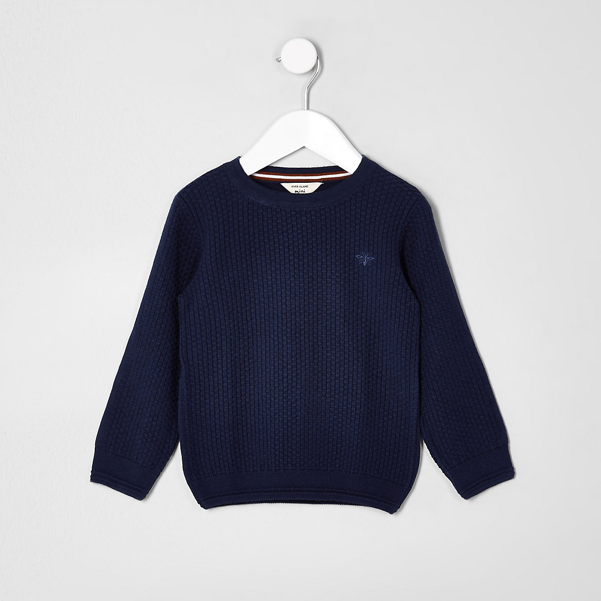 Mini boys blue knit wasp embroidered jumper