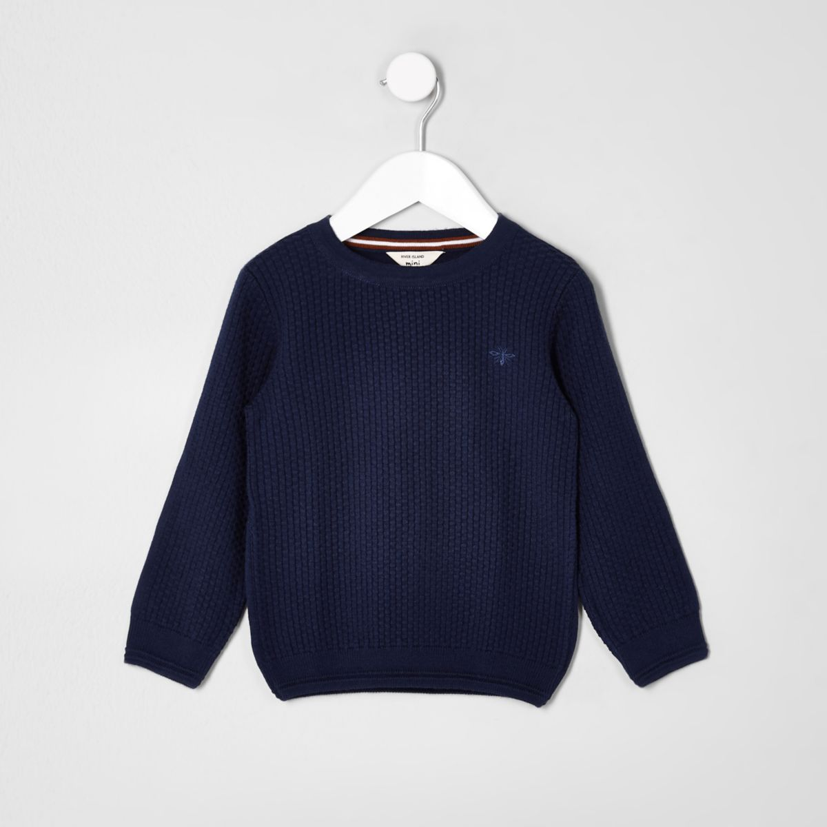 Mini boys blue knit wasp embroidered sweater