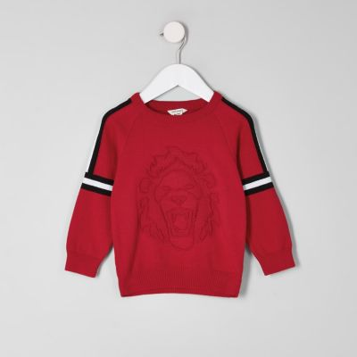 Mini Boys Red Embossed Jumper by River Island