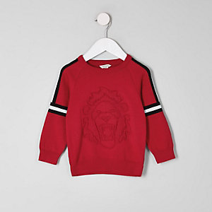 Mini boys red embossed sweater