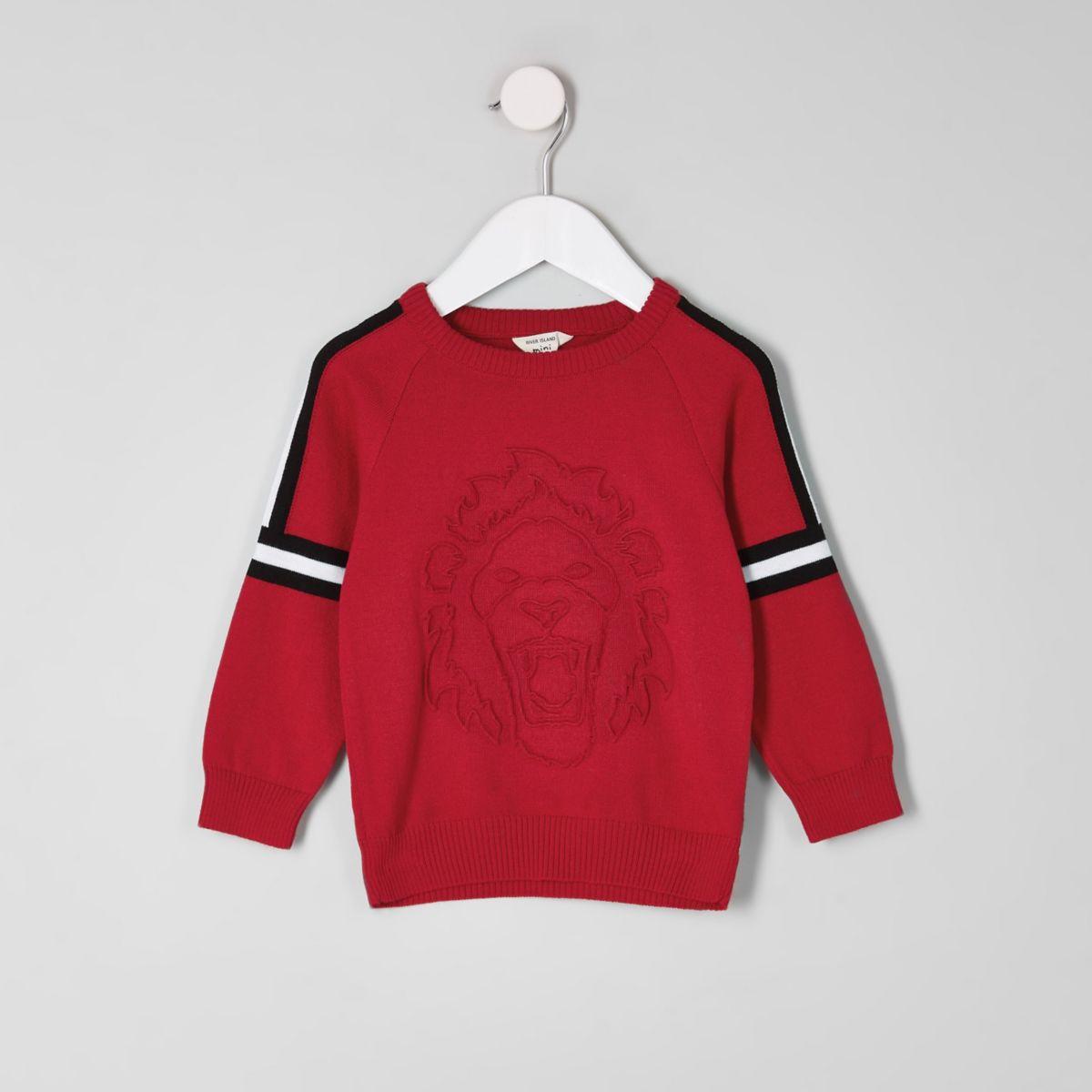Pull rouge à motif en relief mini garçon