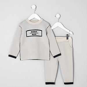Mini boys cream knit 'mischief' sweat set