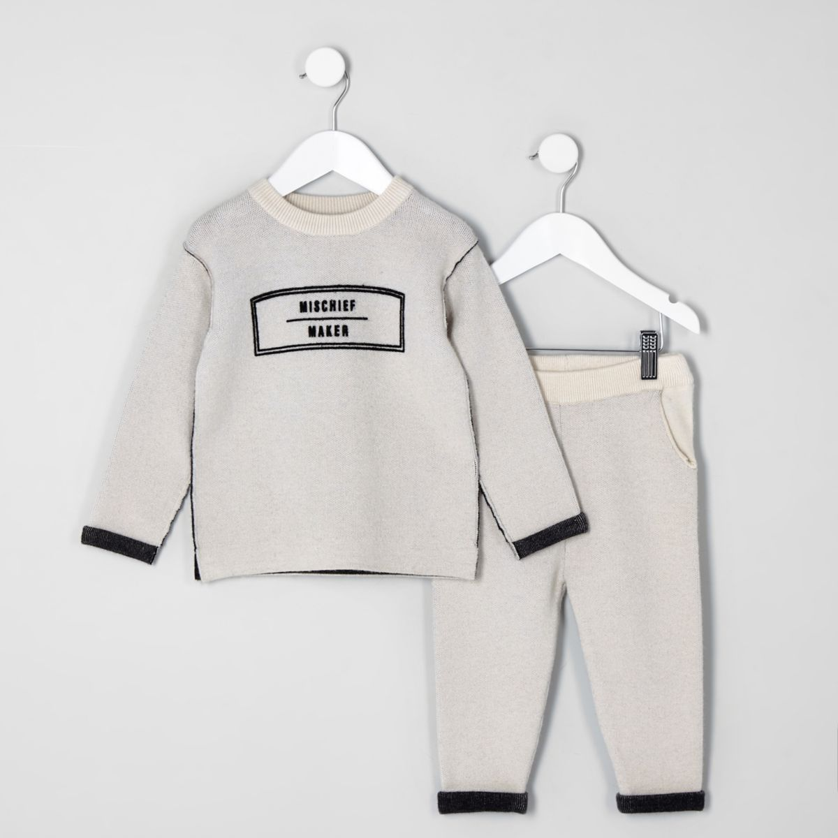 Mini boys cream knit 'mischief' sweat set