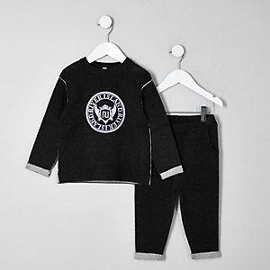 Mini - Zwarte gebreide RI sweatset voor jongens