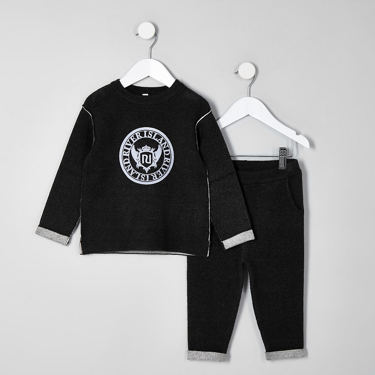 Mini boys black knit RI sweat set