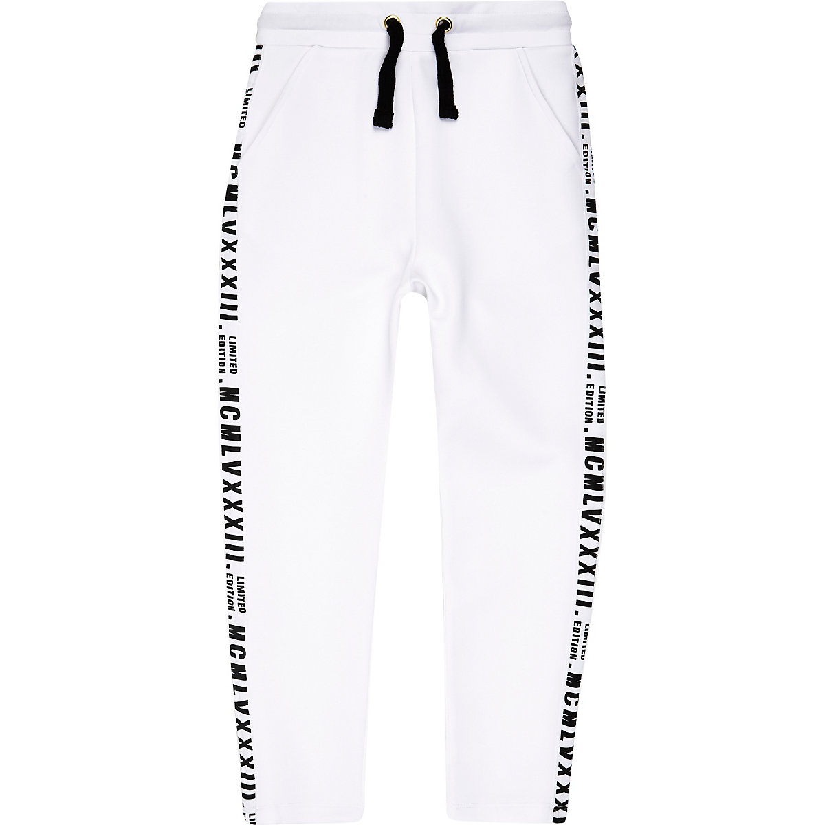Boys white 'limited edition' tape joggers
