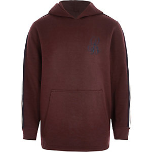 Boys dark red tape sleeve hoodie